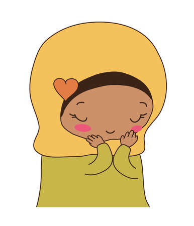 A cute muslim girl on white background. Vector illustration.