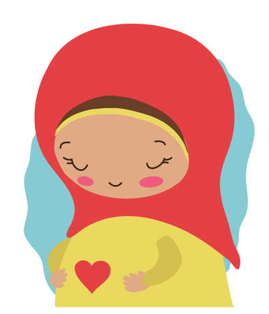 Cute Muslim pregnant woman on a white background. Vector illustration.