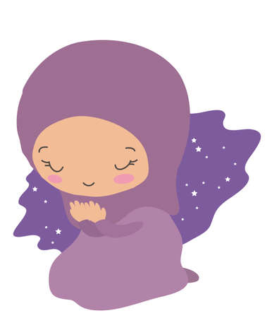 A cute muslim girl is praying. Vector illustration.