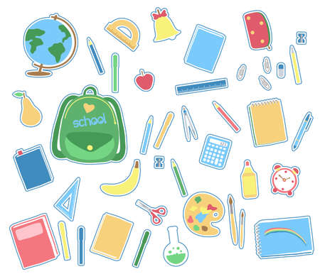 Various school subjects on a white background. Vector illustration.