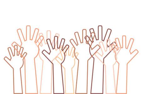 A crowd of different hands raised up. Vector illustration. Standard-Bild - 121611705
