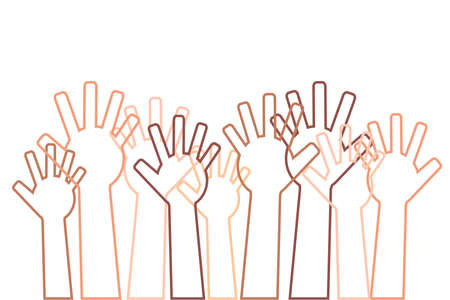A crowd of different hands raised up. Vector illustration. Illustration