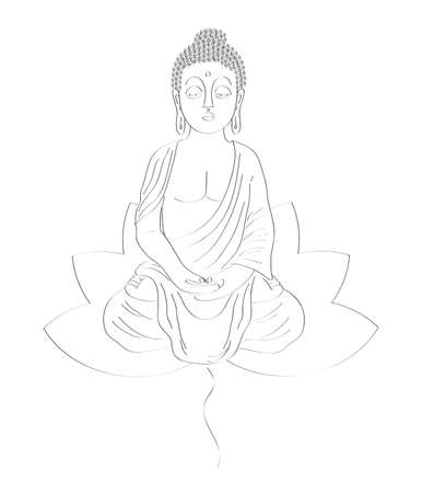 Buddha silhouette on a white background. Illustration.