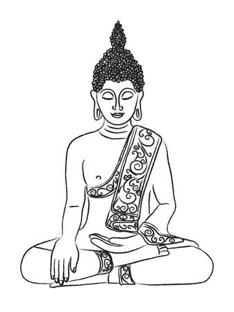 Silhouette of a seated Buddha on a white background. Illustration.
