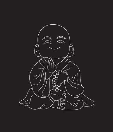 Little Buddha on a black background. Illustration.