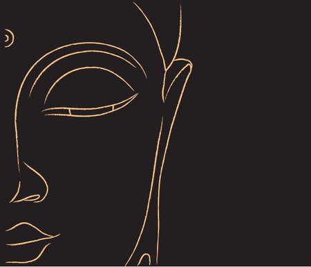 Buddha face on a black background. Illustration. Stok Fotoğraf