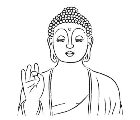 Buddha silhouette on a white background. Vector illustration.