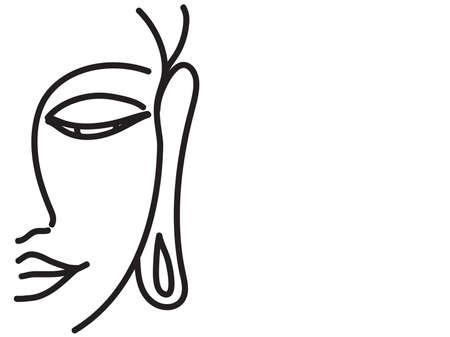 Buddha face on white background. Line. Vector illustration.