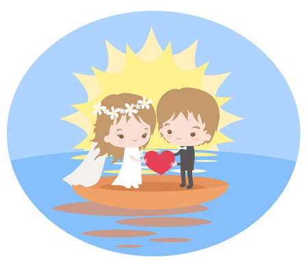 Beautiful couple holding a heart. Vector illustration.