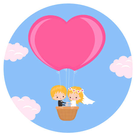 A beautiful couple of newlyweds in a balloon flying into the sky. Vector illustration.  イラスト・ベクター素材