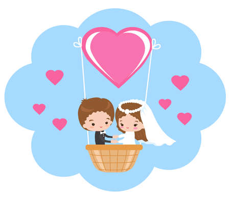 A beautiful couple of newlyweds in the shape of a heart. Vector illustration.