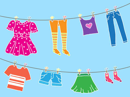 Different things on the clothesline. Vector illustration.
