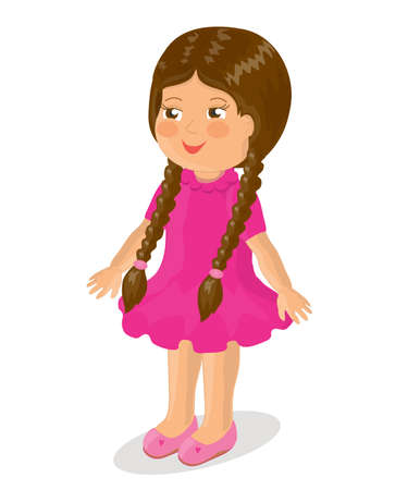 Cute little girl with long pigtails. Illustration. Stock Photo
