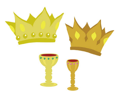 Crown and cup on a white background. Vector illustration. Illustration