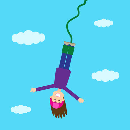 Girl jumping with a rope down. Vector illustration.