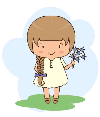 Cute little girl with a flower in her hand. Illustration.