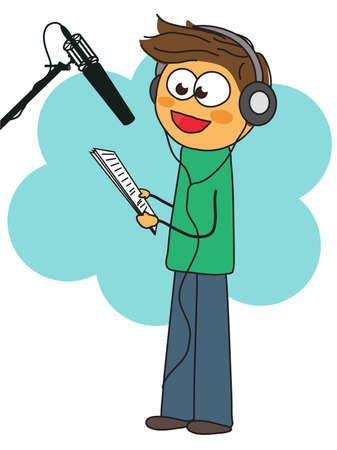 A man reads text on the radio in a recording studio. Illustration.