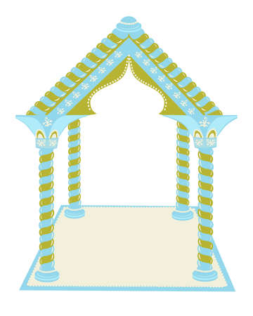 Roof with columns on a white background. Illustration. Standard-Bild - 122091438