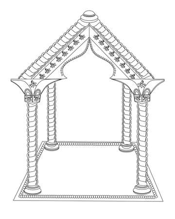Roof with columns on a white background. Illustration. Çizim