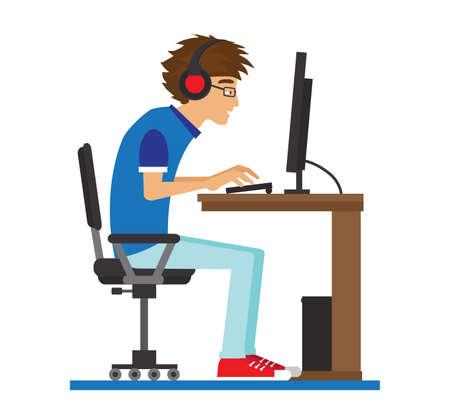 Un homme est assis à table et tape sur le clavier. Vecteurs