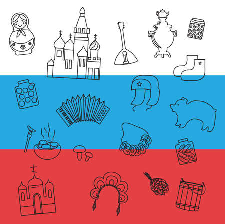 Russian items on the background of the flag.