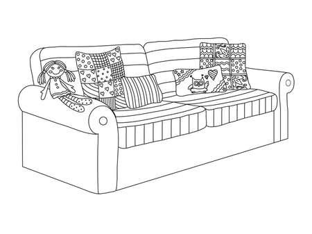 Sofá para niños sobre un fondo blanco. Ilustración vectorial.