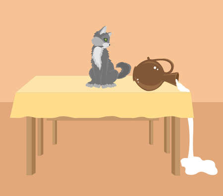 The gray cat knocked over a jug of milk with its tail. Illustration. Stock Photo