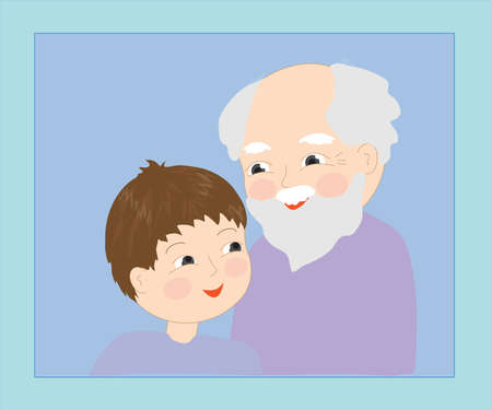 Grandfather and grandson on a blue background.