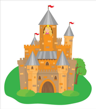 Castle and princess on a white background.