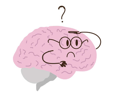 A curious brain on a white background. Vector illustration.