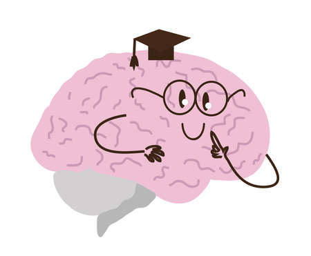 Curious brain on a white background. Vector illustration.