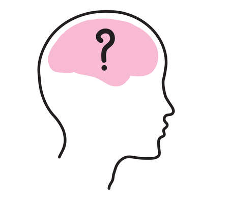Brain and head silhouette on a white background. Vector illustration. Illustration