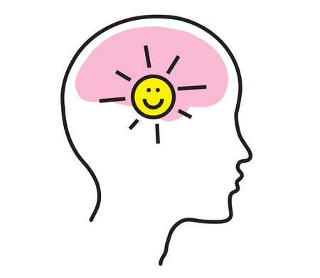Siluetta del cervello e della testa su sfondo bianco. Positivo. Illustrazione vettoriale.