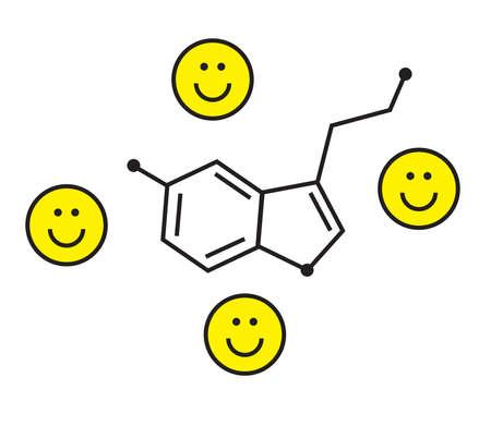 Formula of serotonin on a white background. Positive. Vector illustration.