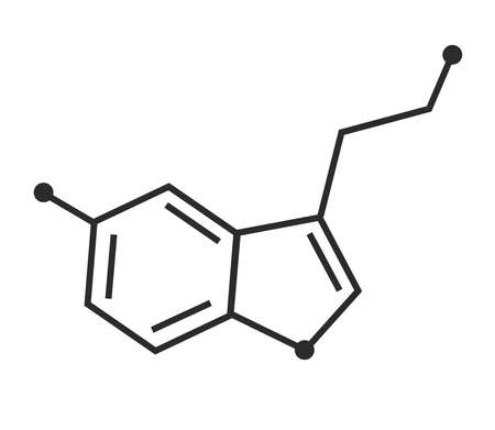 Formula of serotonin on a white background. Vector illustration. Illustration