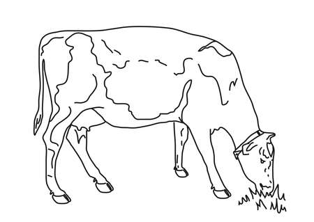 Cow eats grass on a white background. Silhouette.Vector illustration.