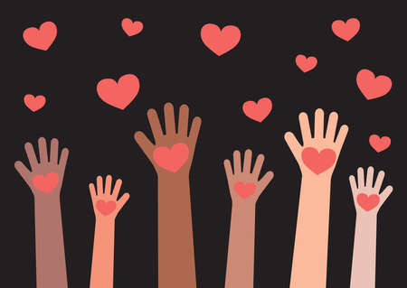 Hands of various people raised on a black background. Hands and hearts. Vector illustration. Vettoriali
