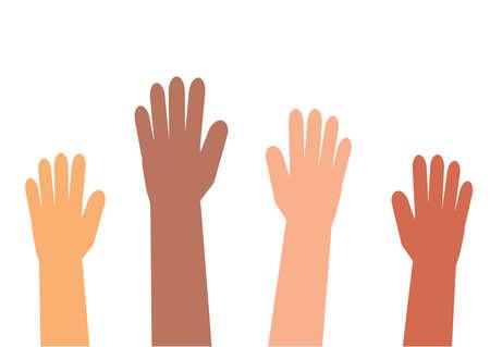 Manos de diferentes personas sobre un fondo blanco. Ilustración de vector. Ilustración de vector