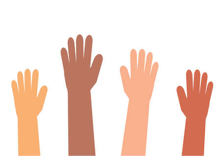 Ręce różnych ludzi na białym tle. Ilustracja wektorowa. Ilustracje wektorowe