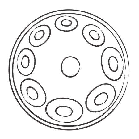 Hang drum, handpan, musical instrument on a white background. Sketch Vector illustration.