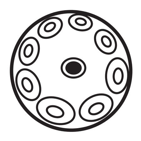 Hang drum, handpan, musical instrument on a white background. Black and white icon. Vector illustration.