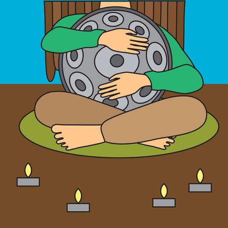Hangdrum, handpan, musical instrument and man with dreadlocks. Vector illustration.  イラスト・ベクター素材