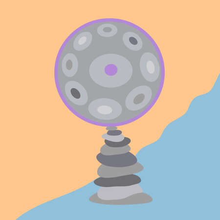 Hangdrum, handpan, musical instrument and stones. Relax. Vector illustration.