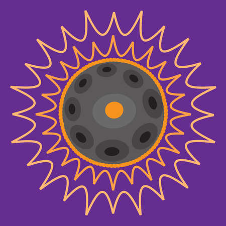 Hang drum, handpan, musical instrument on a purple background. Vector illustration.