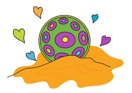 Hang drum, nangpang and multi-colored hearts. Musical instrument on the sand. Vector illustration.