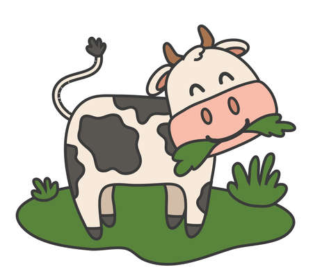 The calf is chewing grass on a white background. Vector illustration.