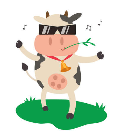 Cheerful cow in sunglasses on a white background. Vector illustration.