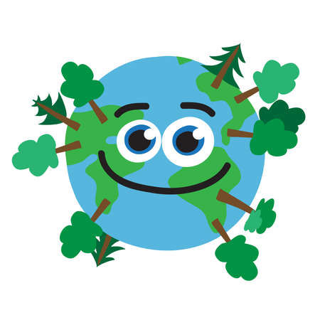 Planet Earth and dense forest. Vector illustration. Ilustração