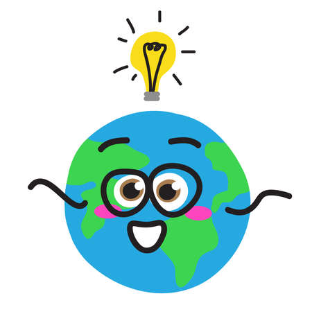 Planet Earth and a light bulb above it. Global problems. Vector illustration.