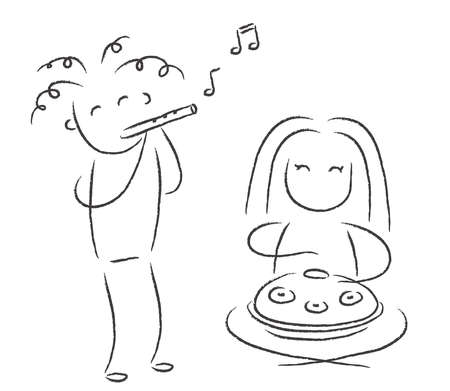 People play musical instruments on a white background. Illustration. 写真素材